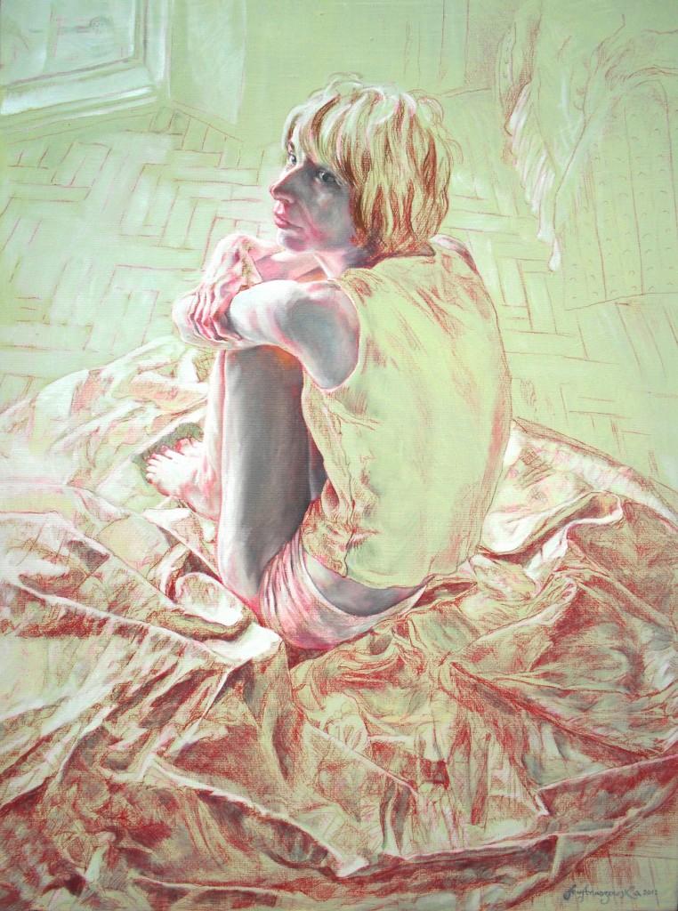 Anna Anuszewska, Przy Oknie III, olej + kredka na pąĘtnie, 46 x 61 cm