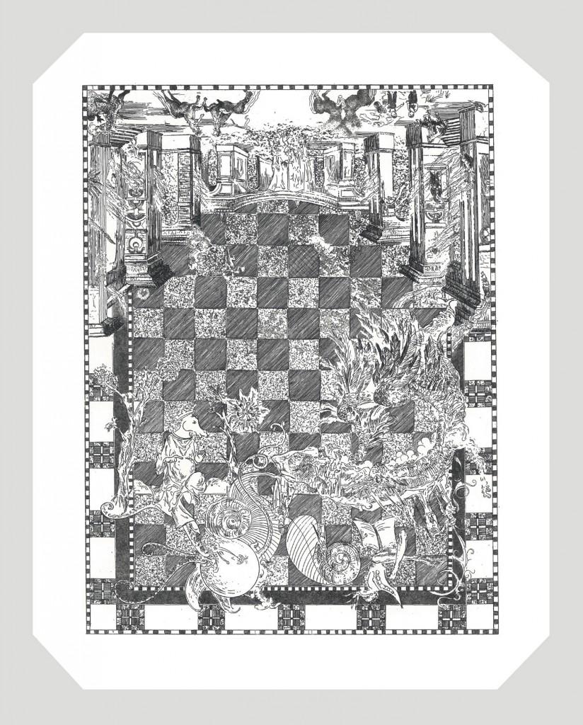14 AHAnuszewska, Lekcja, akwaforta i akwatinta, 21 x 16,5 cm