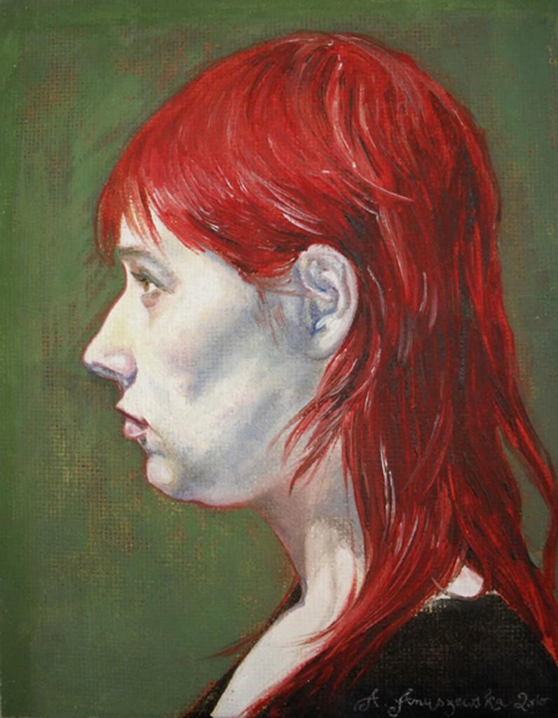 4 AHAnuszewska, Portret Anki, olej na pąycie, 24,4 x 19 cm