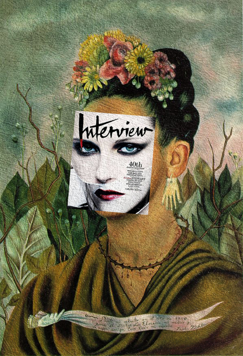 Auto-Retrato-Dedicado-à-Kristen-Stwart-Kristen-Stewart-Interview-Magazine-Out-Nov-2009-+-Auto-Retrato-de-Frida-Kahlo