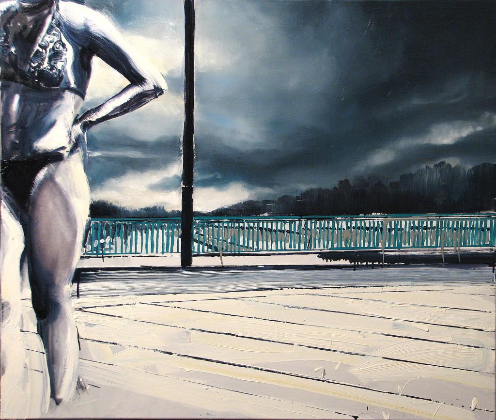 'A w Polsce, kurcze, śnieg', 2014, 85x100 cm, olej na płótnie