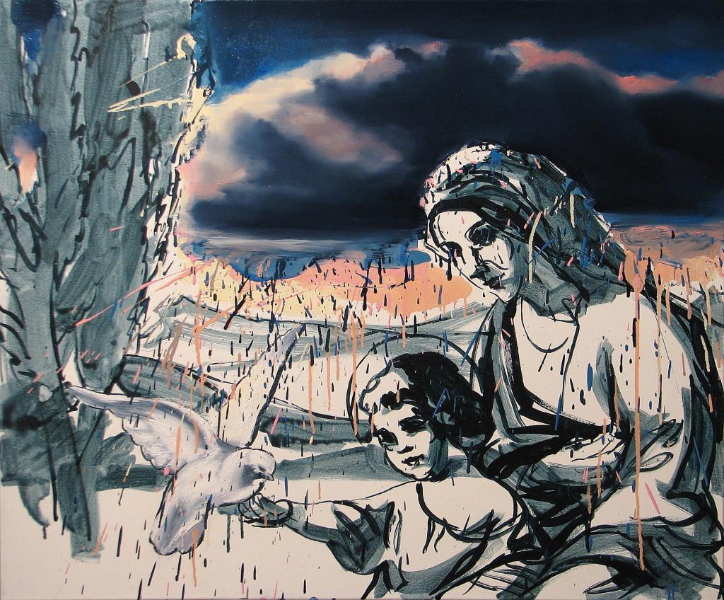 'Między niebem a ziemią', 2013, 75x90 cm, olej, płótno