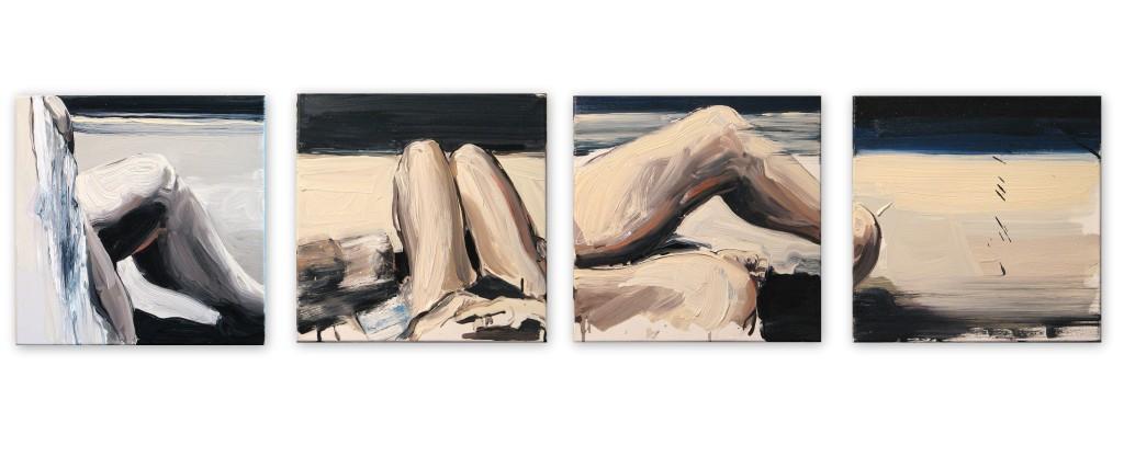 'Na kolanie malowane I.,II.,III.,IV.', 2014, 4x 40x40 cm, olej na płółtnie