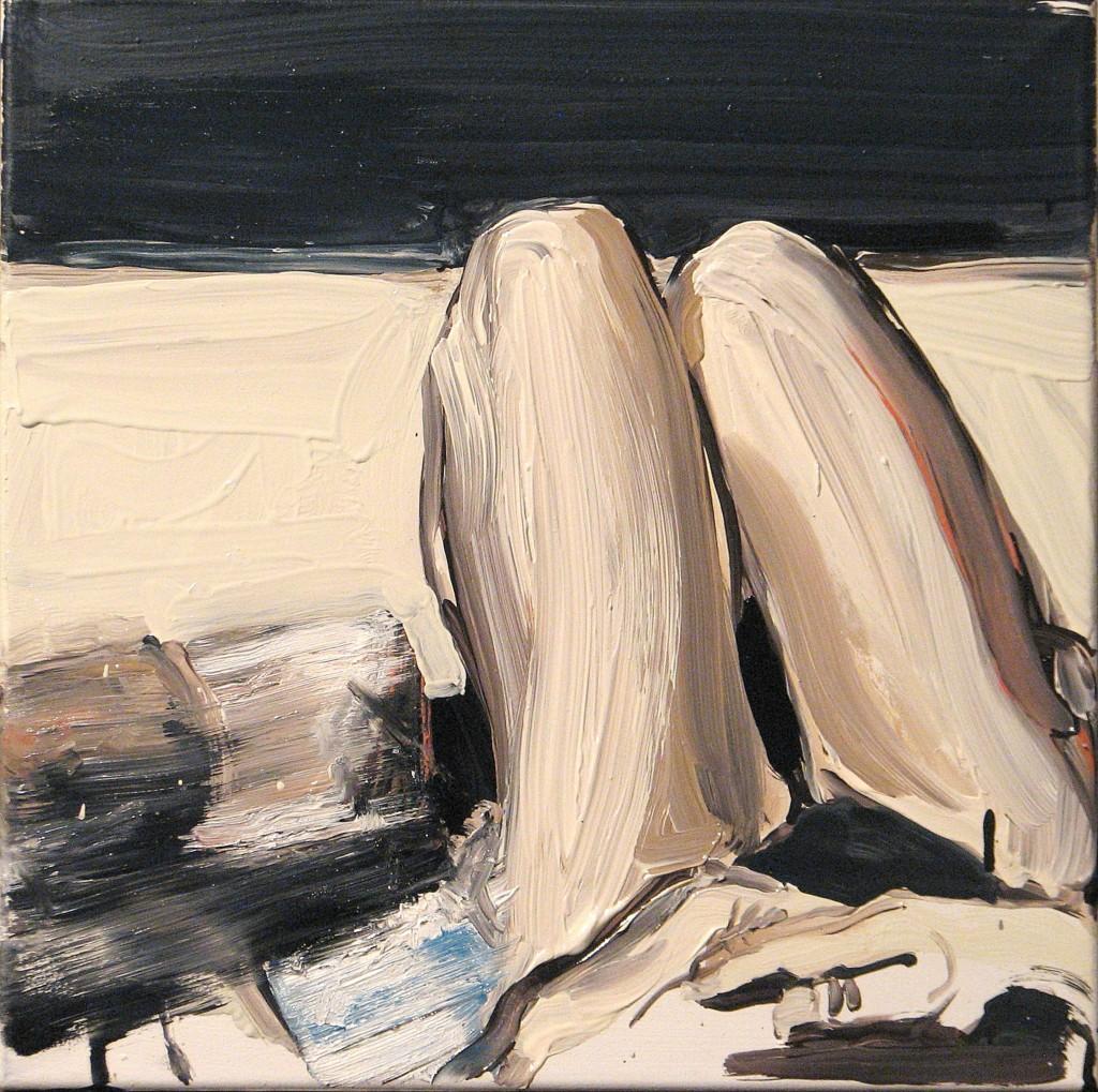 'Na kolanie malowane II.', 2014, 40x40 cm, olej na płółtnie