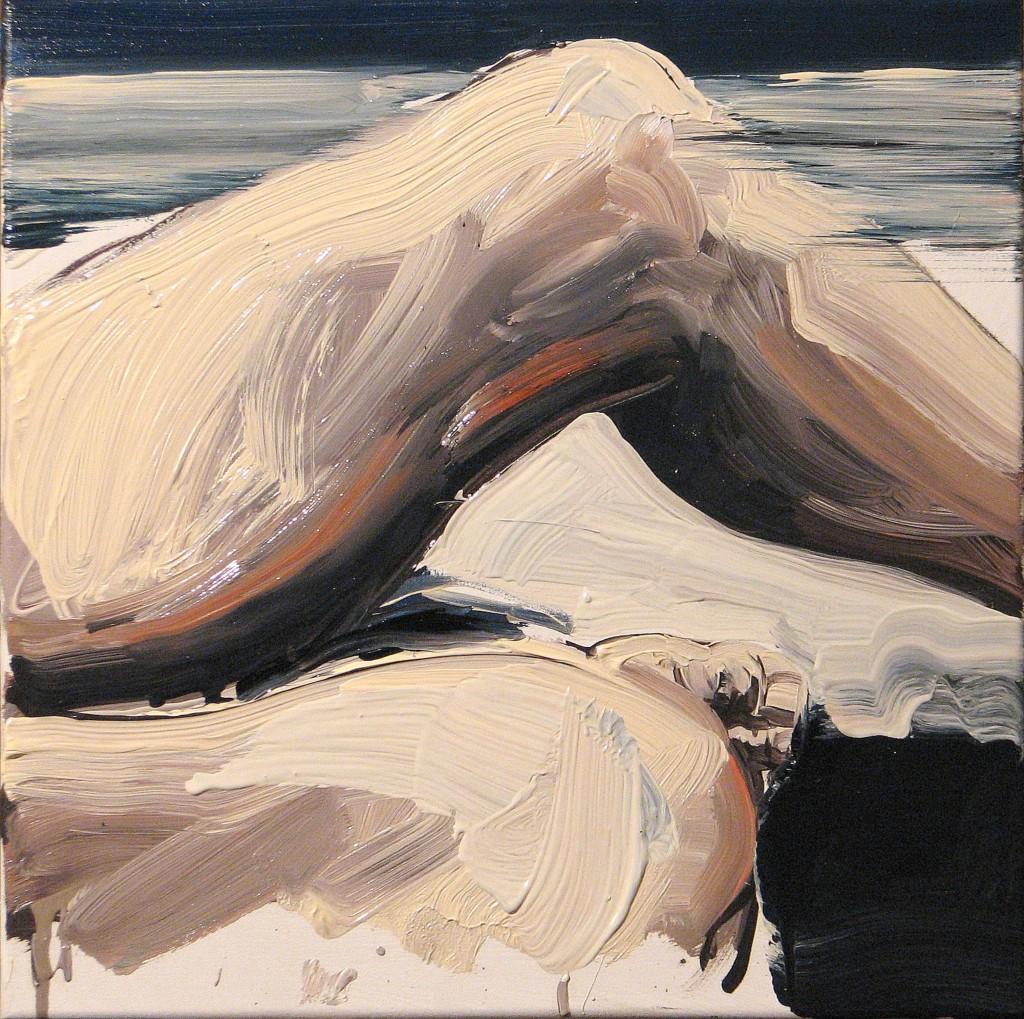 'Na kolanie malowane III.', 2014, 40x40 cm, olej na płółtnie