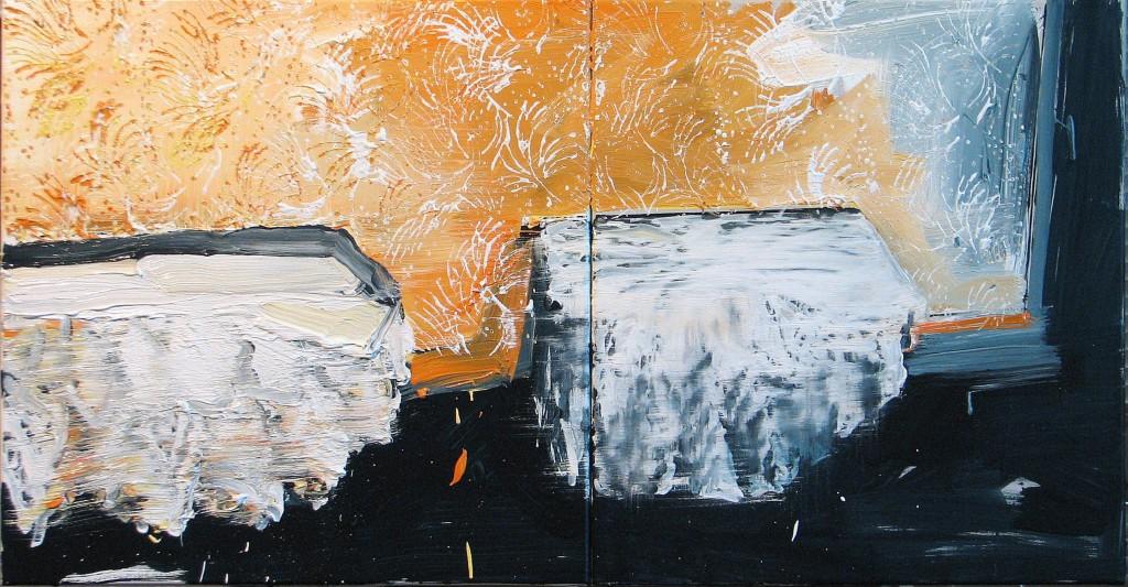 'Powtórka', 2014, 55x105 cm, olej na płótnie