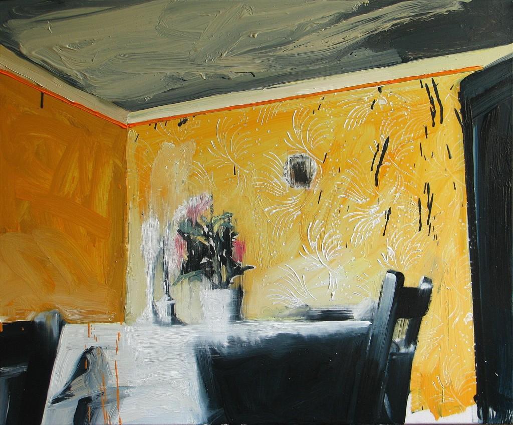 'Spóźniona wizyta', 2014, 70x85 cm, olej na płótnie